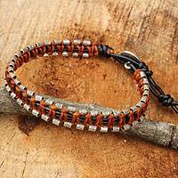 Leather wristband bracelet, 'Om Horizons' - Leather and Silver Wristband Hill Tribe Charm