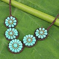 Beaded pendant necklace, 'Sky Blossoms' - Artisan Crafted Thai Floral Crochet Necklace