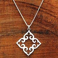 Sterling silver pendant necklace, 'Kaleidoscope Heart' - Satin Finish Sterling Silver Heart Shaped Necklace
