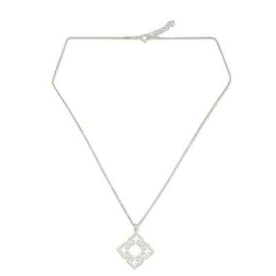 Sterling silver pendant necklace, 'Kaleidoscope Heart' - Fair Trade Sterling Silver Necklace