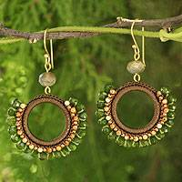 Jasper and labradorite dangle earrings, 'Divinely Olive' - Crocheted Green Quartz and Jasper Earrings