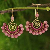 Rhodonite dangle earrings, 'Rose Kiss' - Rhodonite and Brass Handcrafted Earrings