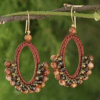 Smoky quartz and jasper dangle earrings, 'Flirty Earth' - Crocheted Smokey Quartz and Jasper Earrings