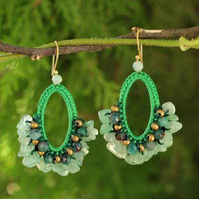 Jasper dangle earrings, Flirty Mint