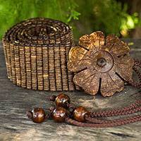 Coconut shell belt, 'Floral Nature' - Wide Beaded Coconut Shell Belt