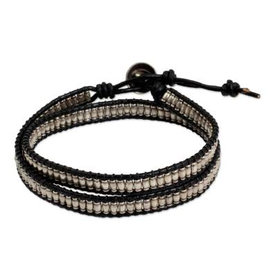 Leather and Hill Tribe Silver Beads Wrap Bracelet