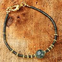Gold accent serpentine and agate beaded bracelet, 'Forest Mystique' - Artisan Crafted Gold Accent Serpentine and Agate Bracelet