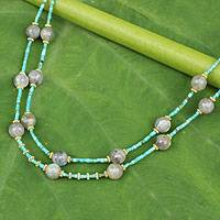 Gold accent labradorite beaded necklace, 'Thai Mystique' - Labradorite and Calcite Double Strand Necklace