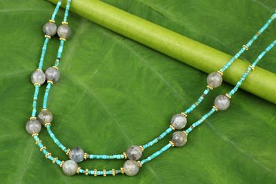 Gold accent labradorite beaded necklace, 'Thai Mystique' - Labradorite and Calcite Double Strand Necklace