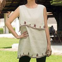 Cotton blouse, 'Layers in Natural' - Embroidered Cotton Sleeveless Beige Blouse
