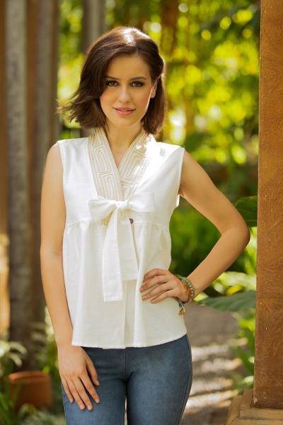 Cotton blouse, Relax in White