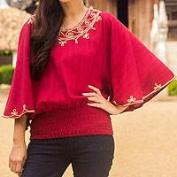 Cotton blouse, 'Cool Sunset' - Artisan Crafted Cotton Embroidered Red Blouse