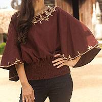 Cotton blouse, 'Cool Dawn' - Artisan Crafted Cotton Embroidered Brown Blouse
