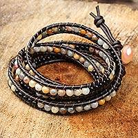 Jasper and onyx wrap bracelet, 'Rich Warm Earth' - Leather and Jasper Beaded Wrap Bracelet