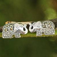 Marcasite button earrings, 'Thai Elephant' - Handcrafted Marcasite and Sterling Silver Elephant Earrings