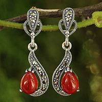 Marcasite dangle earrings, 'Crimson Lady' - Thai Red Onyx Earrings with Marcasite