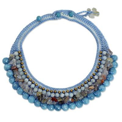 Thai Artisan Crafted Crocheted Aquamarine Choker