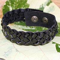 Men's braided leather bracelet, 'Midnight Paths' - Men's Artisan Crafted Braided Leather  Bracelet