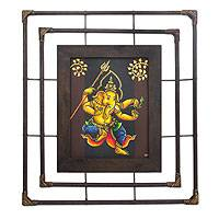 'Religion in Ganesha l' - Framed Thai Folk Art Ganesha Painting
