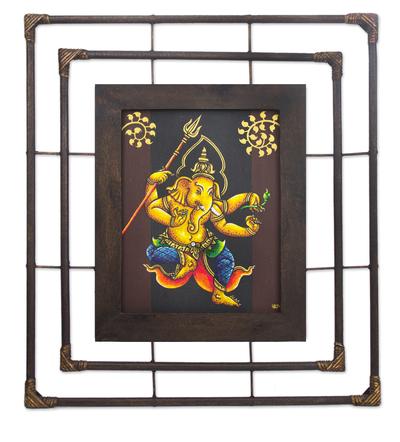 Framed Thai Folk Art Ganesha Painting