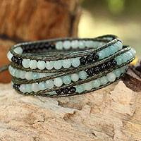 Amazonite and onyx wrap bracelet, 'Rainclouds' - Hand Beaded Gemstone Wrap Bracelet from Thailand