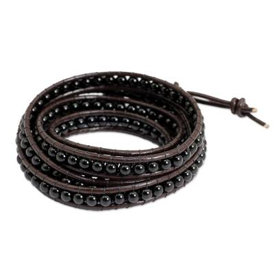 Hand Knotted Onyx and Leather Wrap Bracelet from Thailand
