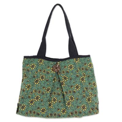 Cotton shoulder bag, 'Green Thai Garden' - Thai Green and Yellow Cotton Floral Print Shoulder Bag