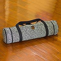 Cotton yoga mat bag, 'Night Passion' - Thai Black and White Cotton Yoga Mat Bag