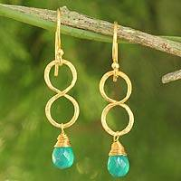 Gold plated earrings, 'Green Infinity'
