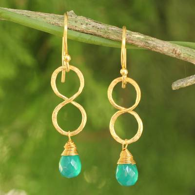 Gold plated earrings, 'Green Infinity' - 24k Gold Plated Green Onyx Dangle Earrings