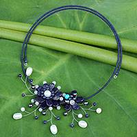 Lapis lazuli and cultured pearl flower necklace,