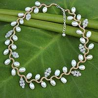 Cultured pearl and rose quartz beaded necklace, 'Sweet White Ivy' - Handcrafted Jewelry Pearl and Rose Quartz Necklace