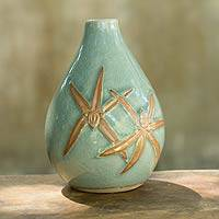 Celadon ceramic vase, 'Dragonfly Orchids in Green' (Thailand)