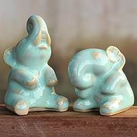 Celadon ceramic statuettes, 'Happy Mint Green Elephants' (pair) - Collectible Thai Celadon Ceramic Sculptures (pair)