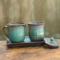 Ceramic cream and sugar set, 'Nostalgic Siam' - Turquoise Cream and Sugar Ceramic Serveware Set