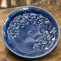 Celadon ceramic plate, 'Enchanted Sapphire Orchids' - Handcrafted Blue Celadon Ceramic Plate from Thailand