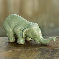 Celadon ceramic statuette, 'Green Elephant Sawasdee' - Collectible Thai Celadon Ceramic Sculpture