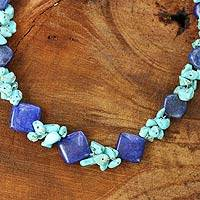 Lapis lazuli beaded necklace, 'Blue Muse' - Handcrafted Lapis and Turquoise Colored Necklace