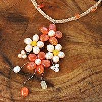 Cultured pearl and carnelian flower necklace, 'Sunny Bouquet' - Pearl and Carnelian Handcrafted Flower Necklace