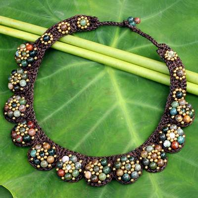 Agate beaded necklace, 'Daisy Melody' - Agate and Brass Hand Crocheted Necklace