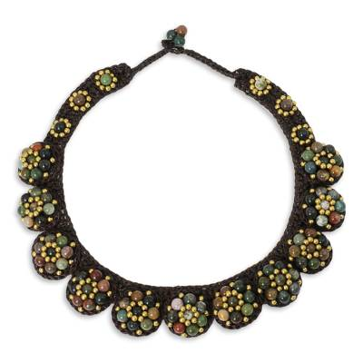 Agate and Brass Hand Crocheted Necklace