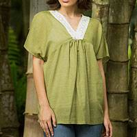 Cotton blend blouse, 'Daisy Meadow' - Green Thai V Neck Blouse with Floral Lace