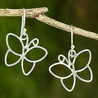 Sterling silver dangle earrings, 'Siam Butterfly' - Artisan Crafted Sterling Silver Butterfly Earrings