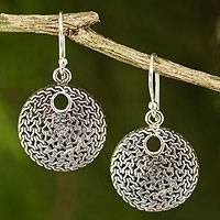 Sterling silver dangle earrings, 'Energized' - Modern Silver Dangle Earrings from Thailand