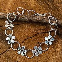 Sterling silver link bracelet, 'Flower Garland' - Hand Made Thai Silver Flower Bracelet