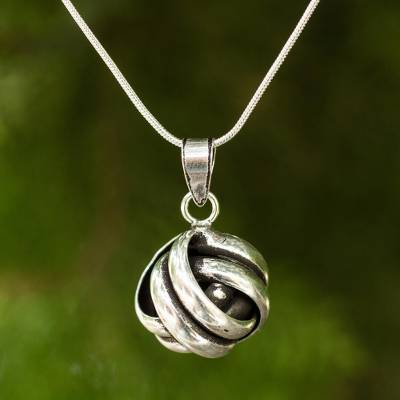 Sterling silver pendant necklace, 'Double Love Knot' - Artisan Crafted Silver Pendant Necklace
