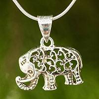 Sterling silver pendant necklace, 'Filigree Elephant' - Thai Elephant Necklace