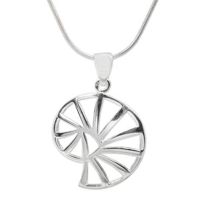 Sterling silver pendant necklace, 'Modern Nautilus' - Artisan Crafted Silver Necklace