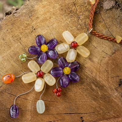 Amethyst flower necklace, 'Twilight Bouquet' - Artisan Crafted Multi-gemstone Flower Necklace