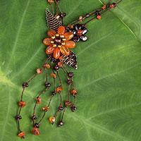 Carnelian and garnet flower necklace,